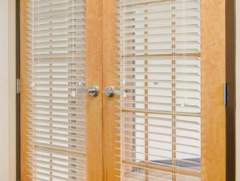 french doors with wood blinds