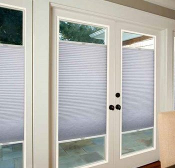 french doors with cellular shades